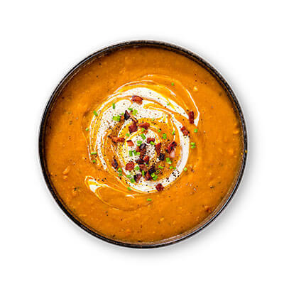 Pumpkin and smoked bacon soup T