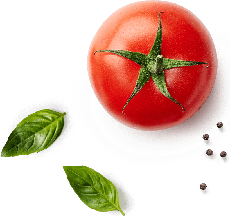 tomato, basil and peppercorns